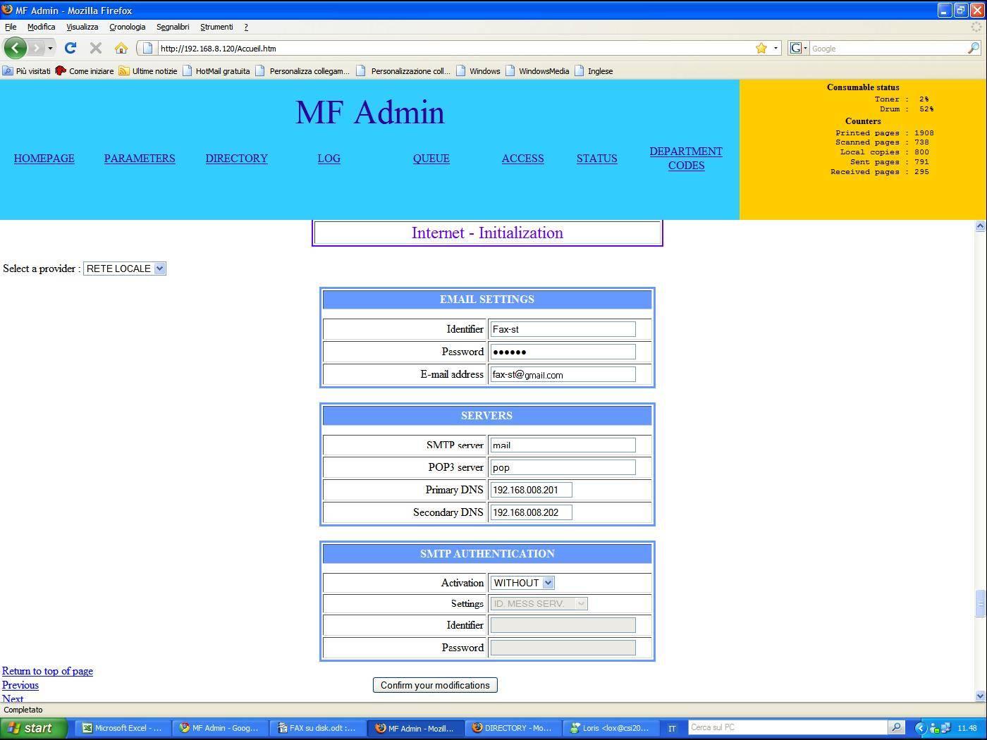 Configurare FAX-to-Folder con la Stampante TallyGenicom MF9020