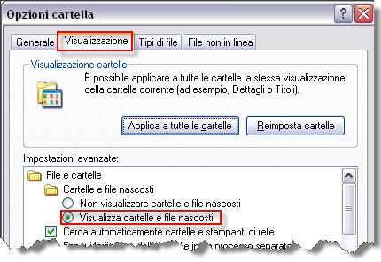 """Impossibile settare l'opzione """"Visualizza Cartelle e File Nascosti"""" in Windows XP"""