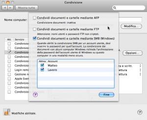 Mac OS X, nozioni di base sulla condivisione file