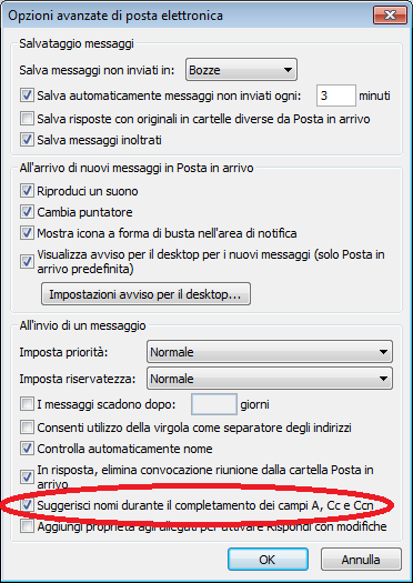 Utilizzo della caratteristica del Completamento automatico del nome in Outlook (file .NK2)