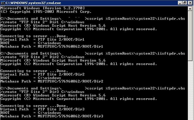 Creare Virtual Directory massivamente su un Server FTP Microsoft con iisftpdr.vbs