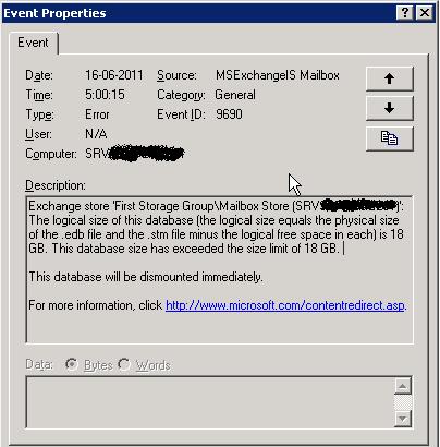 Configurazione e gestione del limite della dimensione del database in Microsoft Exchange 2003 (Errore Event ID 9690)