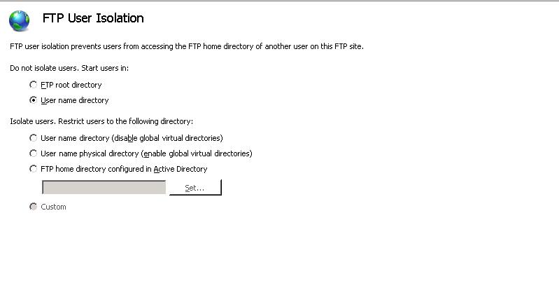 Configurazione FTP Server su IIS 7.5 per inizio sessione su determinata cartella