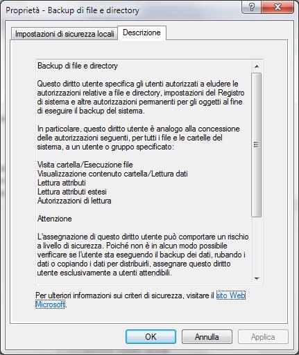 Permettere la scrittura di file nella root di C: in Windows 7 ad utente senza diritti amministrativi