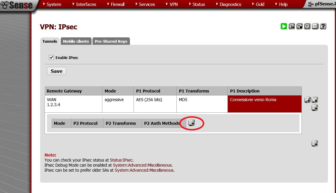 Creare una VPN Site to Site IPSEC con pfSense