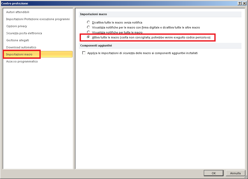 automaticamente allegati outlook