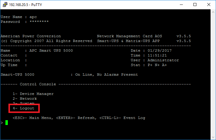 Someone is currently logged into the APC Management Web Server