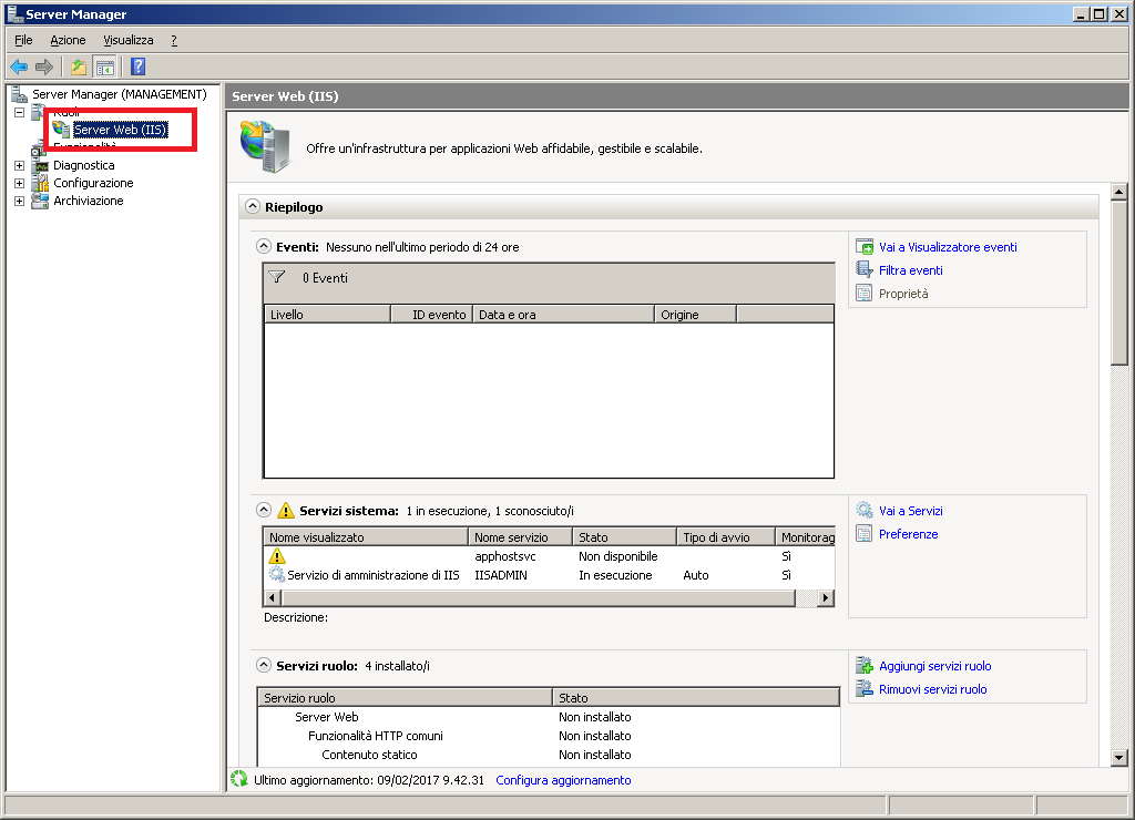 IIS Virtual SMTP non scrive i log su disco in Windows Server 2008