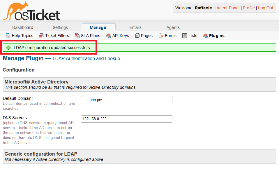 Errore in osTicket LDAP Extensions is not available . Please Install or enable the 'php-ldap' extensioni on your web server