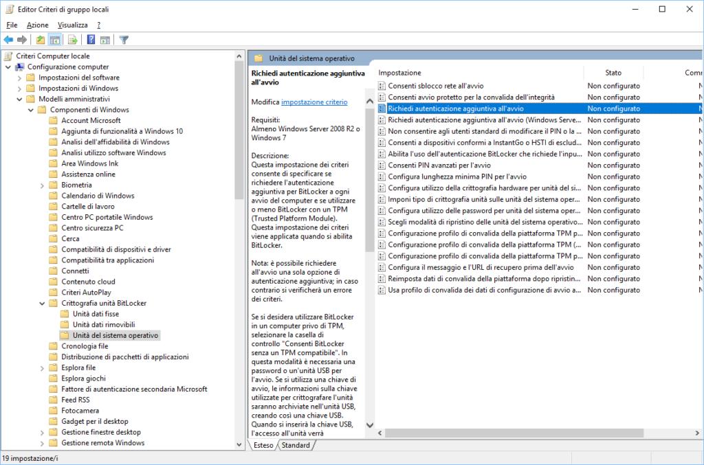 Attivare e utilizzare il BitLocker Drive Encryption in Windows 10