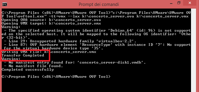 Conversione con OVF Tool di Virtual Machine .OVF in .VMX - Unsupported hardware family 'virtualbox-2.2'