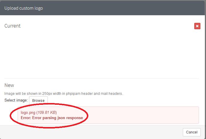 Inserire il Logo in phpIPAM quando si riceve l'errore Error parsing json response