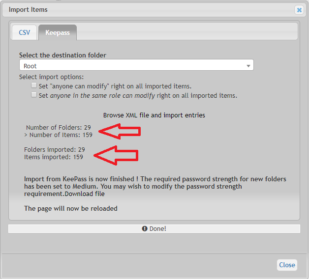 Importare le password da Keepass a Teampass