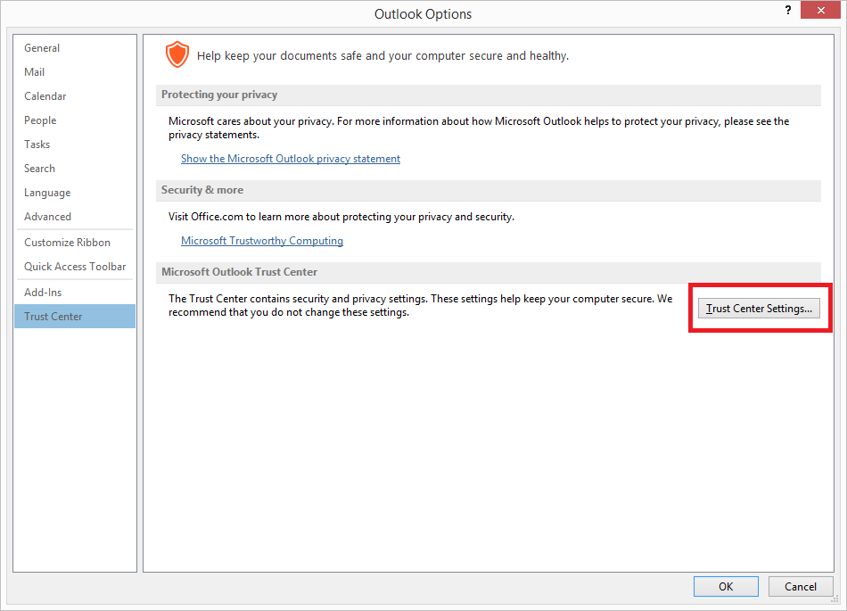 """Cambiare le opzioni dell' """"Accesso Programmatico"""" in Outlook - ObjectModelGuard"""