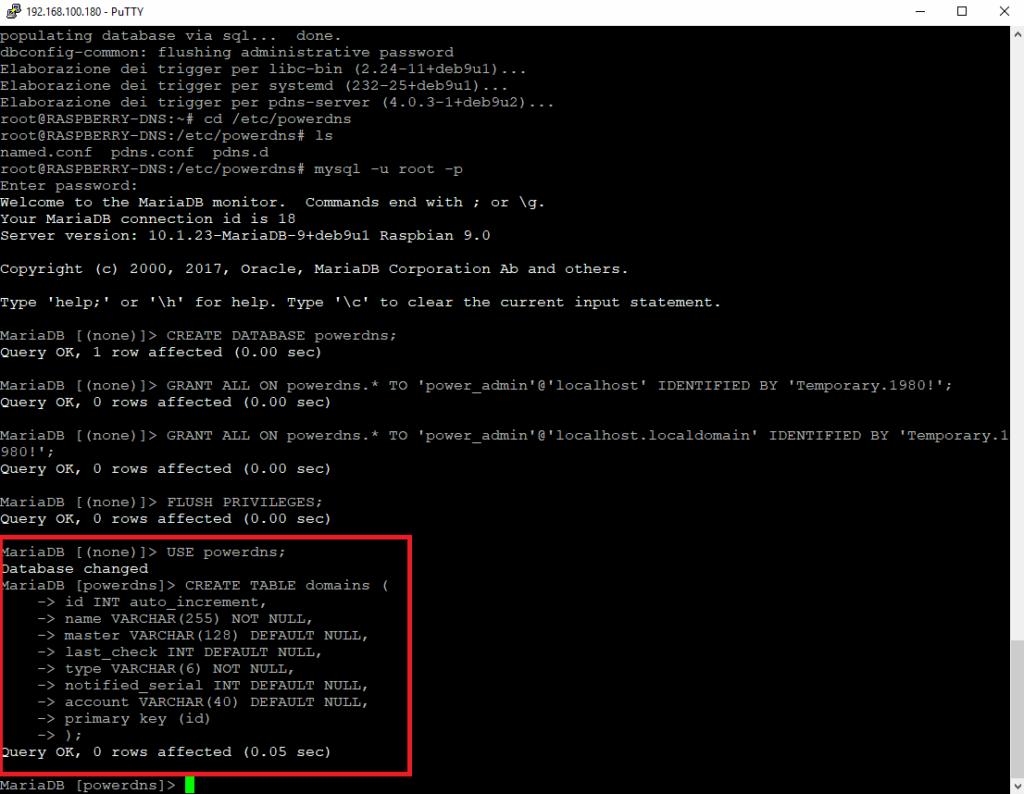 Installazione di PowerDNS con backend MySQL su Raspberry