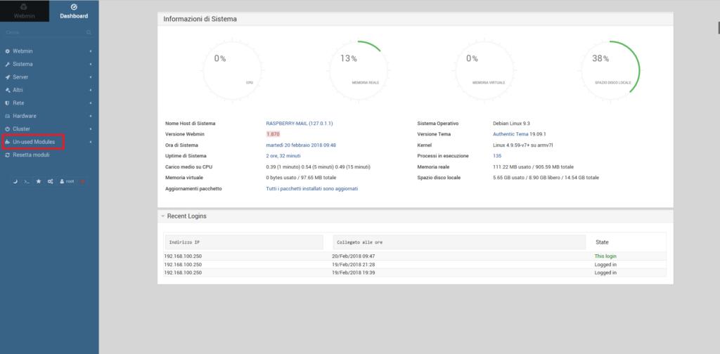 Installazione e Configurazione del Mail Server Postifix su Raspberry tramite Webmin