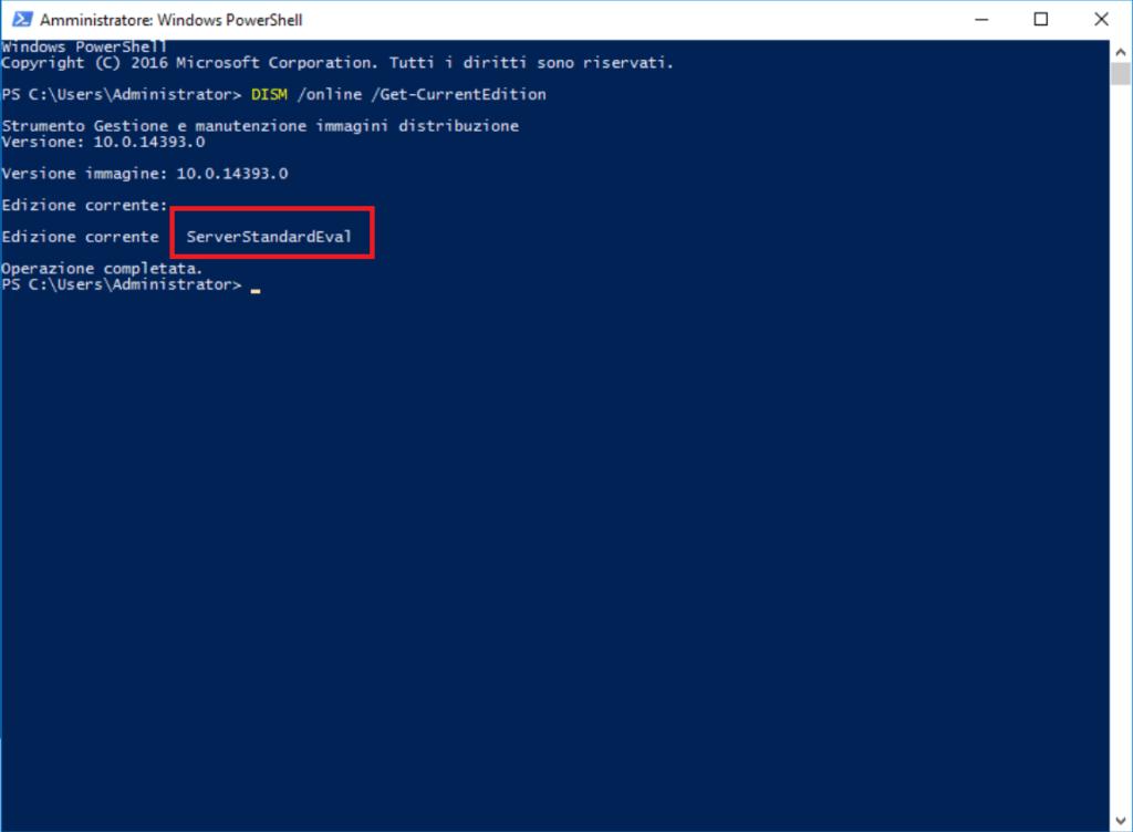 Modificare la versione di Windows Server 2016 da Evaluation a Retail o OEM - Non è possibile aggiornare questa versione
