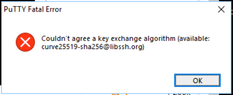 Errore SSH con Putty - Couldn't agree a key exchange algorithm