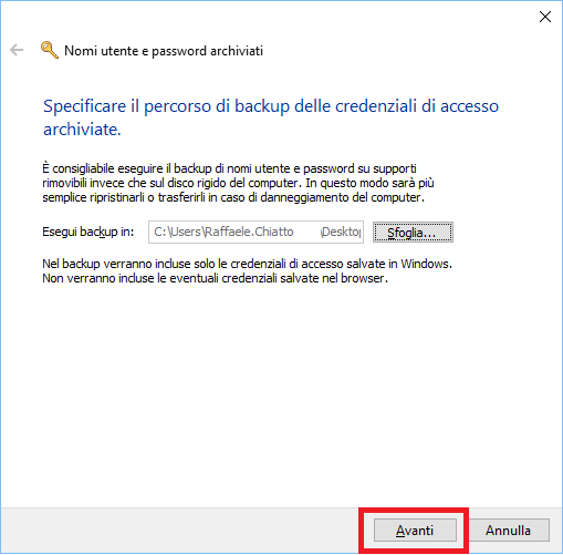 Backup e Restore delle Credenziali di Windows e Web in Windows 10