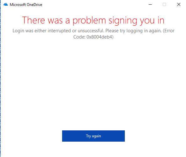 Codice errore: 0x8004deb4 durante l'accesso a OneDrive for Business