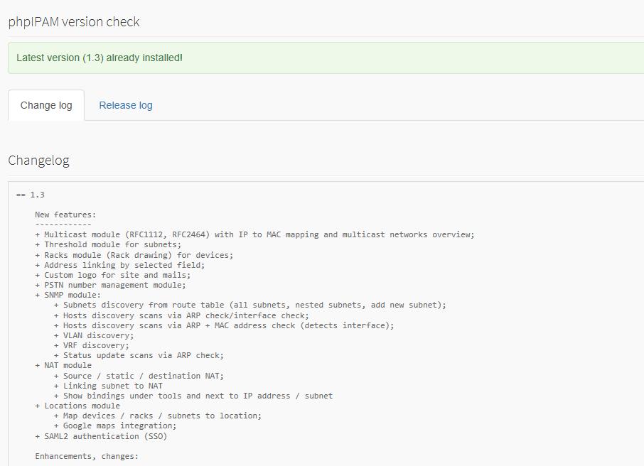 Aggiornare PHPIpam alla versione 1.3.2