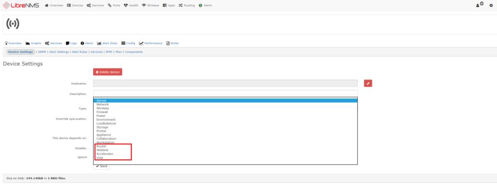 Aggiungere Tipologie di Device in LibreNMS oltre a quelli di default