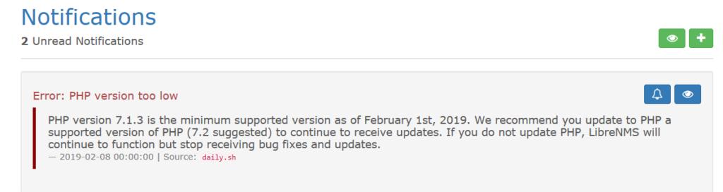Upgrade dalla versione PHP 5.6/7.0 alla versione PHP 7.2 per permettere gli aggiornamenti automatici in LibreNMS