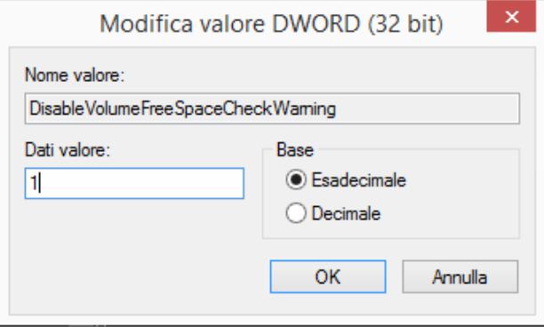 Modifica o disattivazione dell'Allarme low on free disk space in Veeam Agent for Microsoft Windows