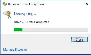 Unità crittografata con BitLocker si blocca in fase di decrypting - Come riparare l'unità