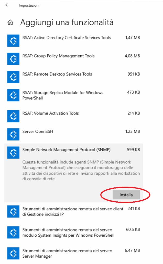 Installazione e Configurazione del Servizio SNMP in Windows 10 version 1809 e versioni successive
