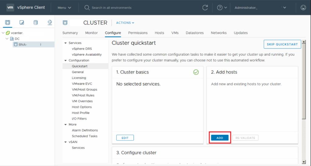 Creazione Base Datacenter e Cluster in VmWare Vsphere 6.7