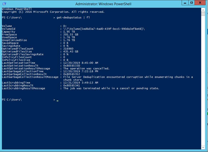Disattivazione e Rimozione della Deduplica su un Volume in Windows Server 2012 e Windows Server 2016