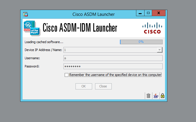 Problema Java su Cisco ASDM - Unable to launch device manager from