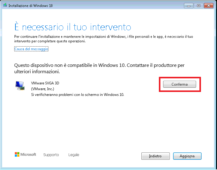 Errore Upgrade Virtual Machine in VmWare da Windows 7 a Windows 10 - 0x8007001F - 0x20006