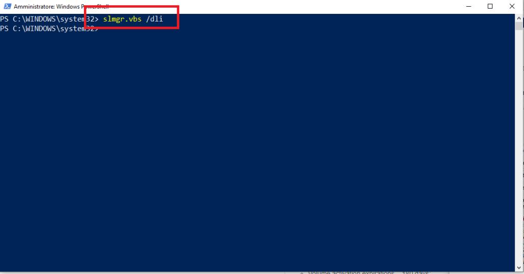 Comandi per la gestione della licenza di Windows sul KMS Server