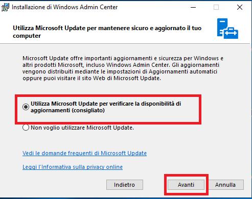 Installazione di Windows Admin Center in Modalità Gateway su Windows Server Windows 2019