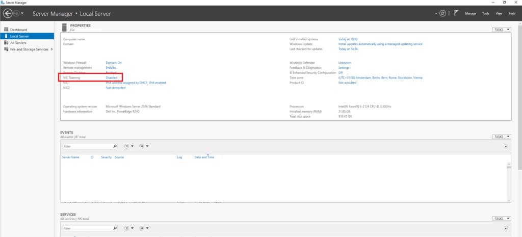 Configurazione del NIC Teaming in Microsoft Windows Server 2016