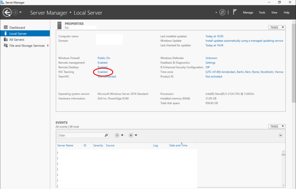 Configurazione del NIC Teaming in Microsoft Windows Server 2016