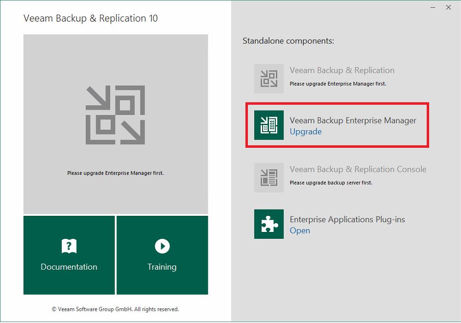Upgrade di Veeam Backup & Replication dalla versione 9.5.4 alla versione 10