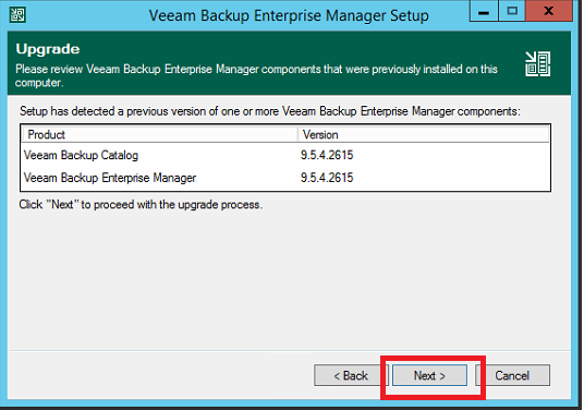 Upgrade di Veeam Backup & Replication dalla versione 9.5.4 alla versione 10