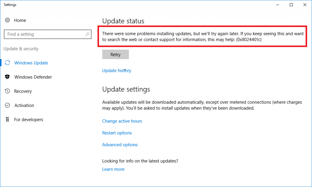 Risoluzione dell'Errore di Windows Update 0x8024401c – The server timed out waiting for the request