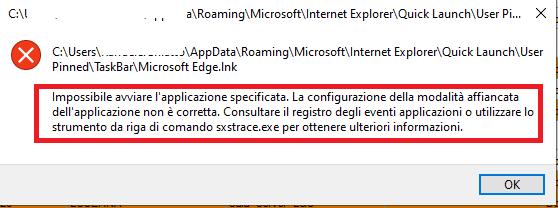 Errore Edge - Impossibile Avviare l'Applicazione. La configurazione della modalità affiancata non è corretta.