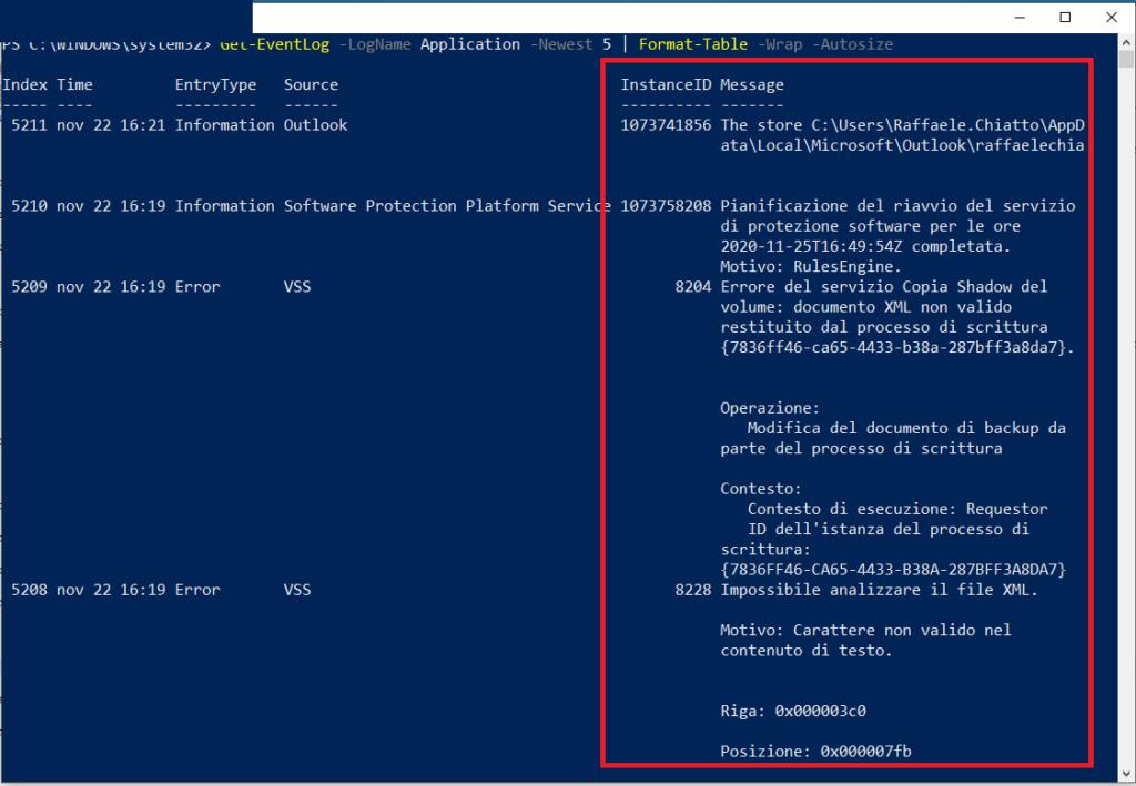 Come correggere e visualizzare l'output troncato di Microsoft PowerShell