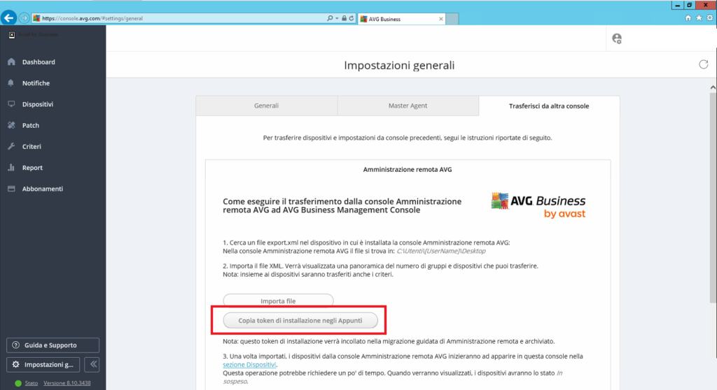 Upgrade da AVG Amministrazione Remota ad AVG Business Cloud Management Console