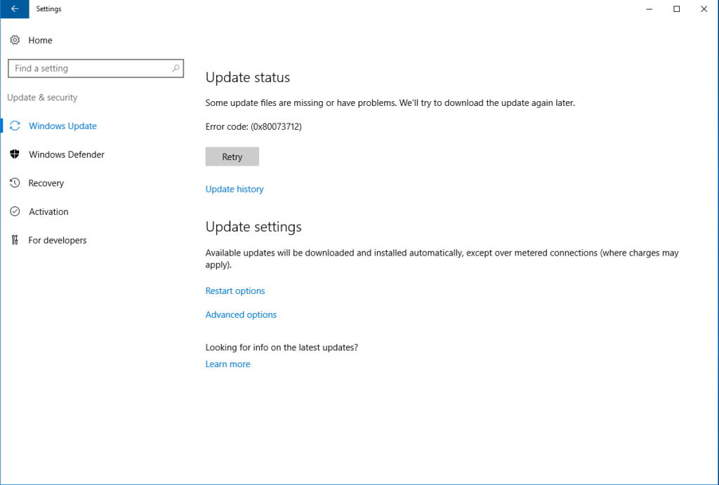 Risoluzione dell'Errore di Windows Update 0x80073712 – File required by your Windows Update is missing or damaged.