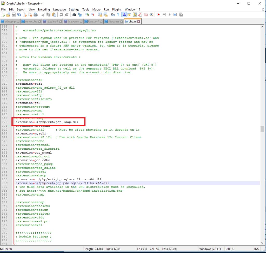 Abilitare la configurazione LDAP con Active Directory su Apache 2.4 e PHP 7.4 installato su Sistema Windows