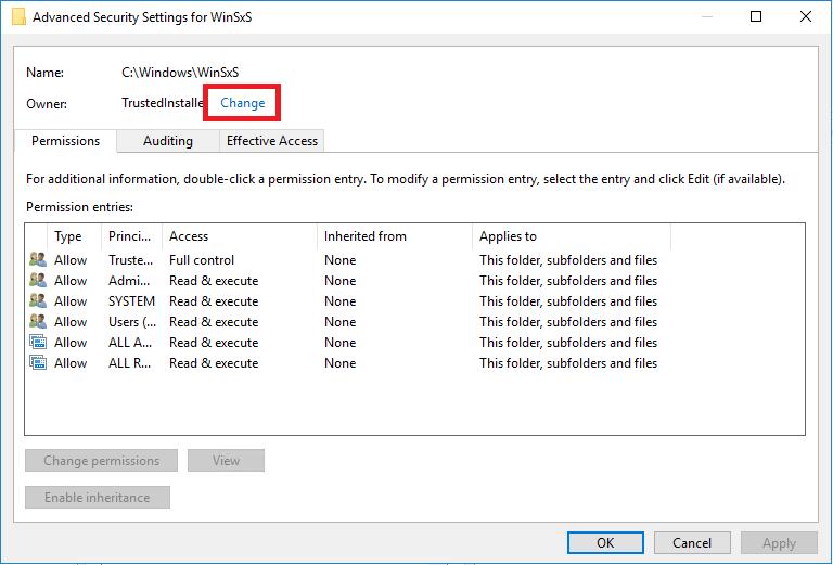 Modificare i diritti di Scrittura nella cartella di sistema C:WindowsWinSxS