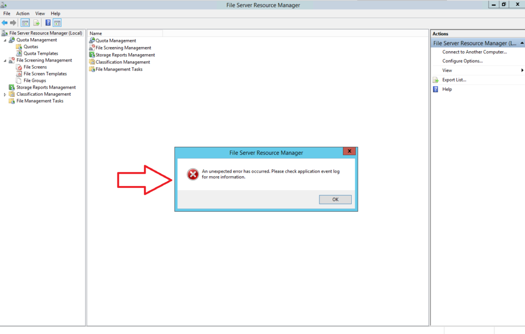 Risoluzione dell'Errore MMC del File Server Resource Manager in fase di configurazione delle opzioni