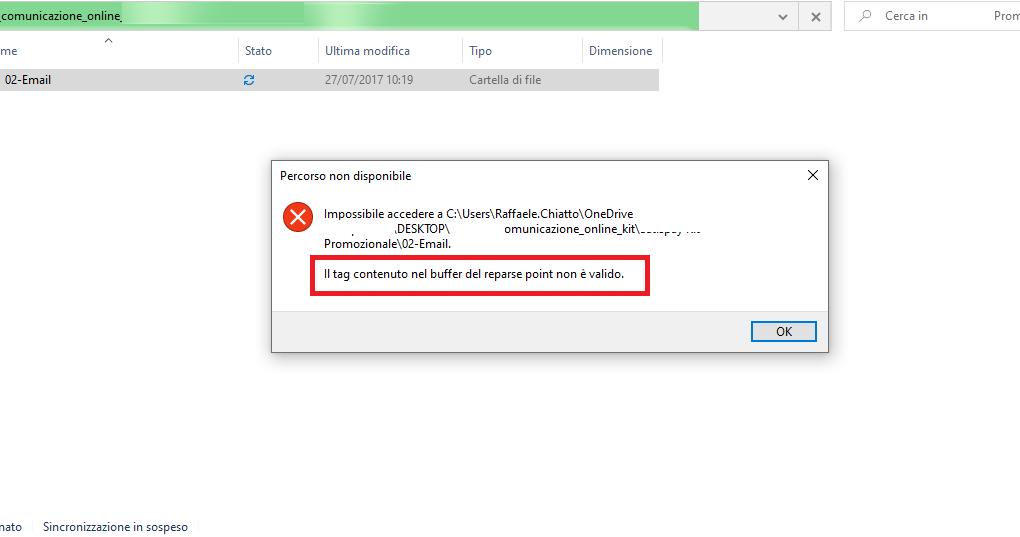 Errore OneDrive: Il tag contenuto nel buffer del reparse point non è valido.