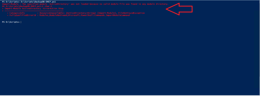 Errore Powershell: Import-Module The specified module 'ActiveDirectory' was not loaded because no valid module file was found in any module directory